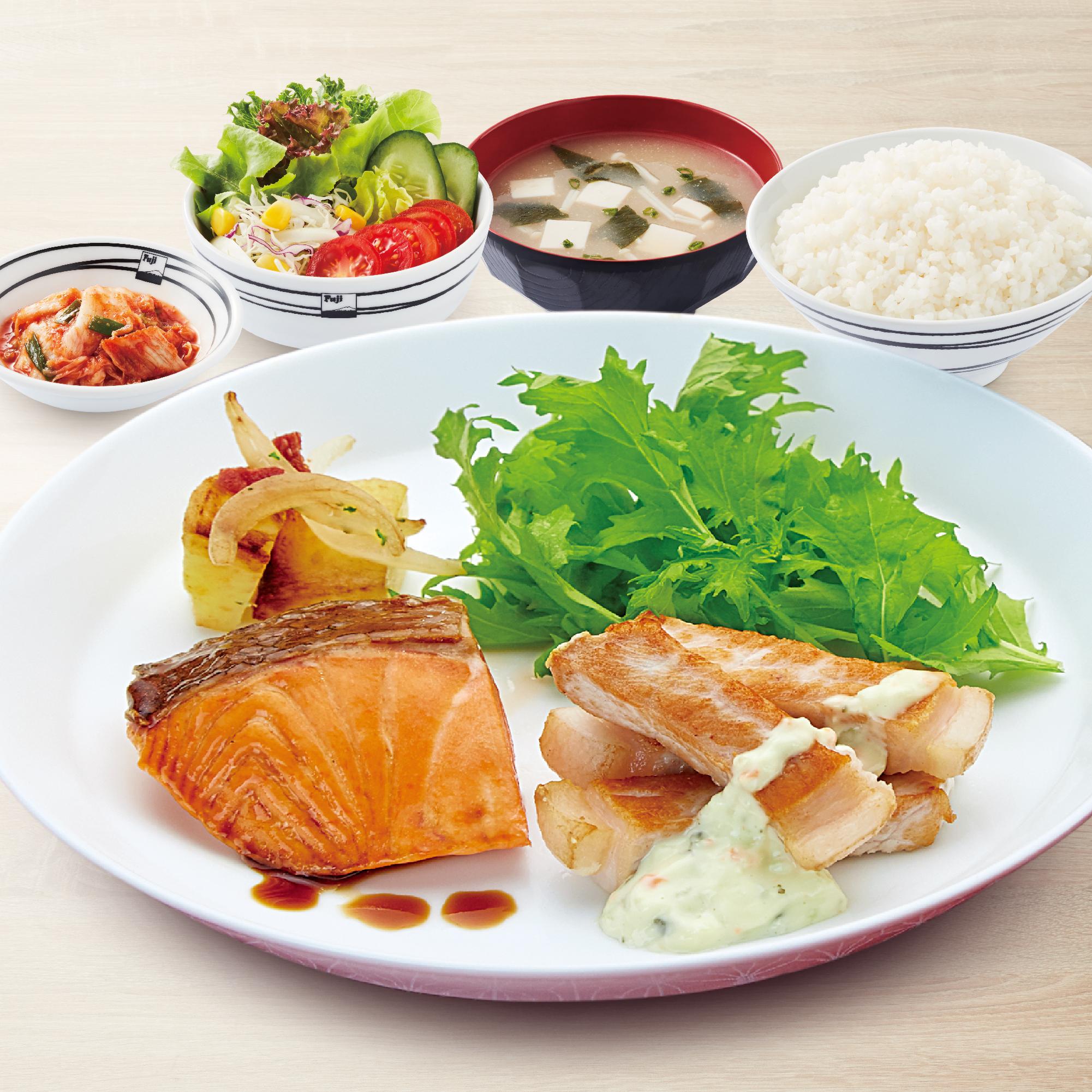 Kurobuta Steak & Salmon Teriyaki Set